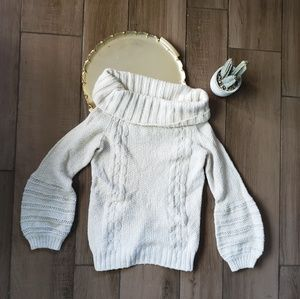 Anthro Sleeping on Snow Turtleneck Sweater Cable